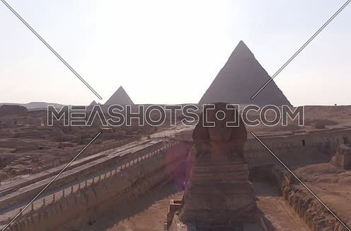 Aerial Shot for The sphinx and the Pyramids at Giza at Day