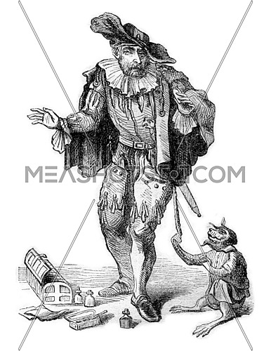 A Quack in London in 1665, vintage engraved illustration. Magasin Pittoresque 1870.