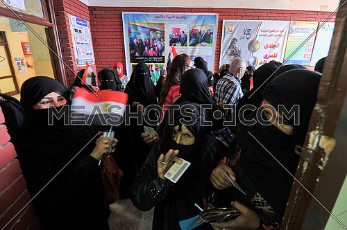 Bedouin women preparing to cast their votes in the Egyptian presidential elections in 2018 in the city of peace in Sharm El Sheikh in South Sinai on the first day of the elections March 26, 2018, which lasts for 3 days