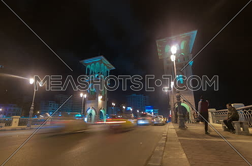 Fixed shot for Traffic at Stanly Bridge at Alexandria at Night
