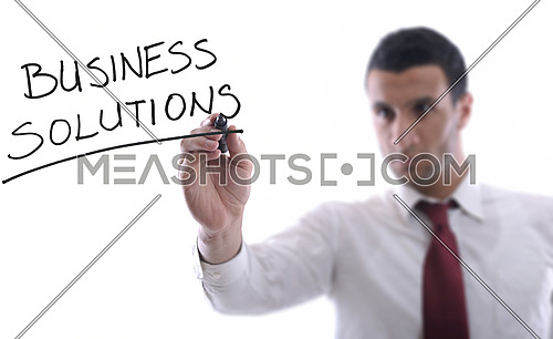 business man draw business solutions and plan b concept  with marker on glass  isolated on white background  in studio