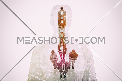 Double exposure of young ambitious business group on white background