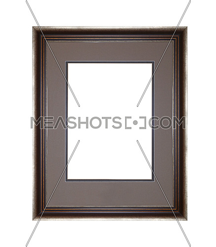 Vintage old wooden classic brown and silver painted vertical rectangular frame with grey cardboard mat (passe partout mount) for picture or photo, isolated on white background, close up