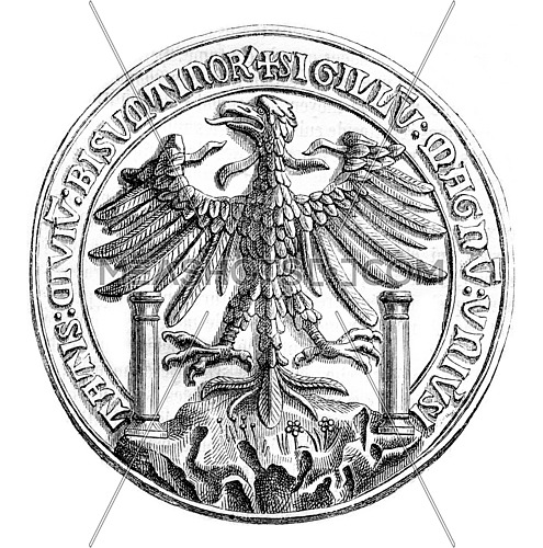 Great Seal of the town of Besancon in 1434, vintage engraved illustration. Magasin Pittoresque 1870.