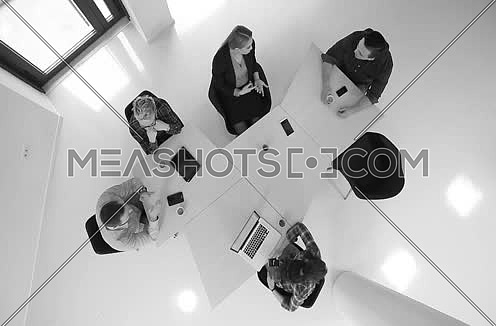 Top View  Business People Meeting and Discussing plan for startup company