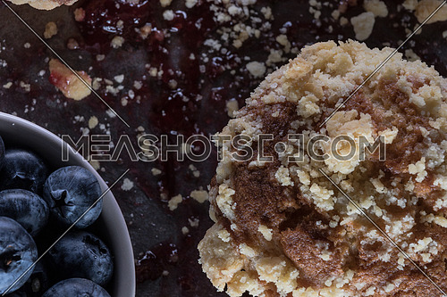 Muffins with blueberries and jam