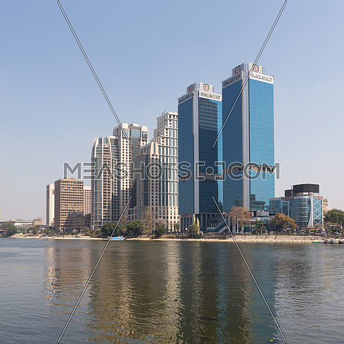 City view from River Nile overlooking Head Office of National Bank of Egypt and St. Regis hotel, Egypt