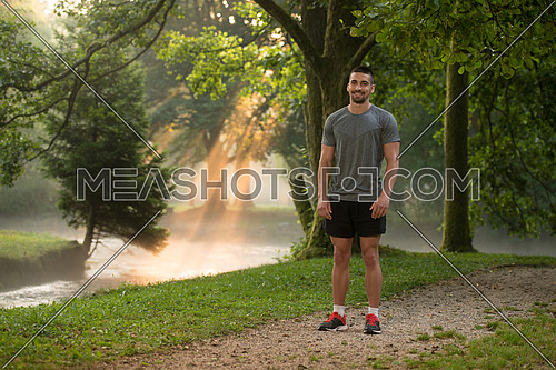 Portrait Of Young Man Doing Outdoor Activity Running