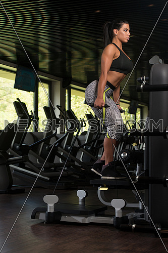 Young Latin Woman Working Out Legs On Machine In Fitness Center