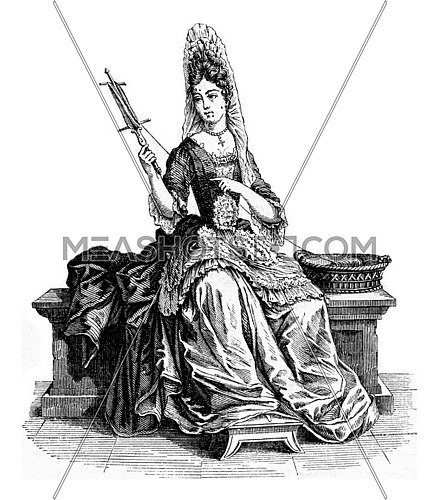 Lachesis, vintage engraved illustration. Magasin Pittoresque 1853.
