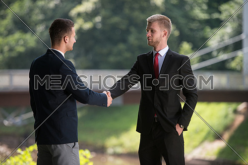 Happy Businessmen Shaking Hands While Standing Outdoors In Park