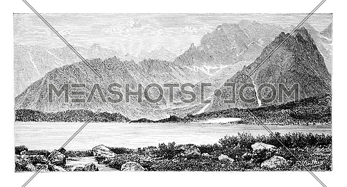 Cieszki Staw or Heavy Lake in Bohemia, Czech Republic, drawing by G. Vuillier, from a photograph, vintage engraved illustration. Le Tour du Monde, Travel Journal, 1881