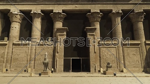 Track in for Temple of Edfu yard Egypt by day