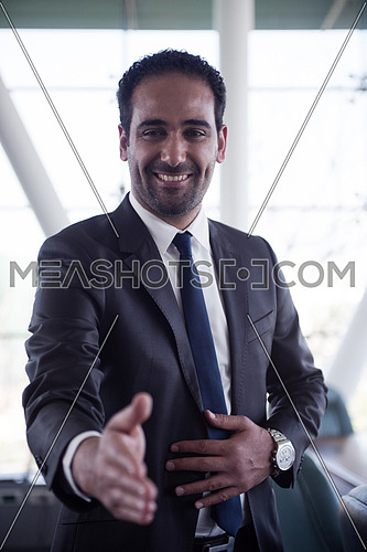 young middle eastern business man giving handshake