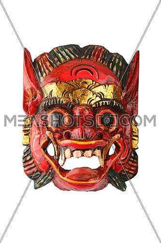 Asian traditional wooden carved painted red mask with face of human or demon isolated on white background, full face