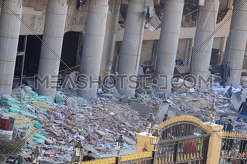 destruction to the facade of the Egyptian Police Headquarters after A car bomb explosion in Cairo on 24 January 2014