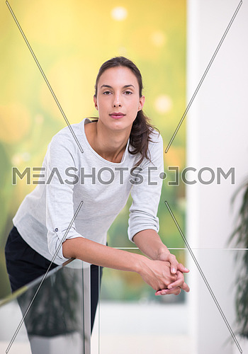 portrait of a young beautiful woman on the stairs at home