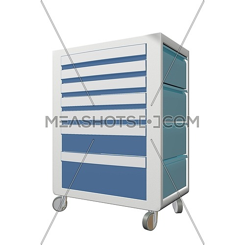Blue and grey metal medical supply cabinet with wheels, 3D illustration, isolated against a white background