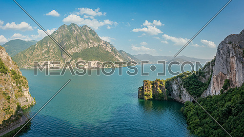 Aerial view of Iseo lake, on the right Bay of Bogn near Lovere, Bergamo Italy.