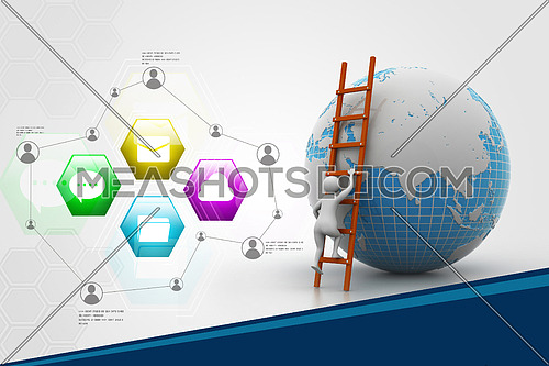 Earth globe and ladder in color background