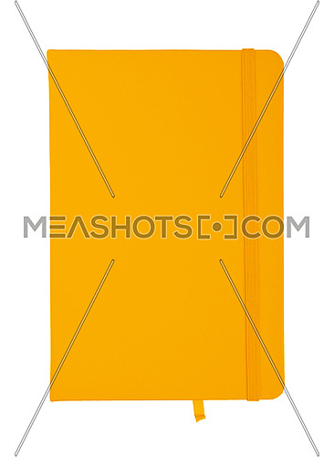 Closed yellow faux leather cover notebook isolated on white background, flat lay, directly above