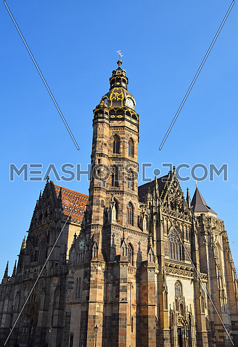 Low angle day view of gothic medieval Cathedral of Saint Elisabeth in Kosice, Slovakia