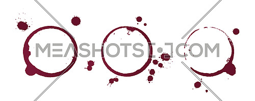 Vector illustration of dry stains of red wine glass or bottle circle rings and blob drops isolated on white background