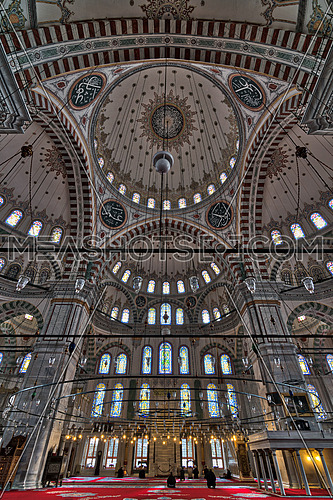 Istanbul, Turkey - April 21, 2017: Fatih Mosque, a public Ottoman mosque in the Fatih district, Turkey, with prayers waiting for Asr prayers