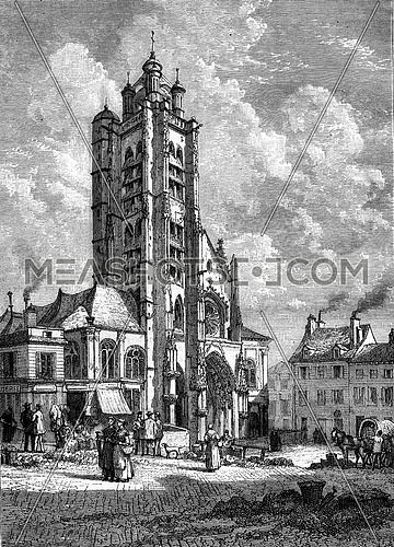West facade of the church Saint-Maclou at Pontoise, vintage engraved illustration. Magasin Pittoresque 1880.