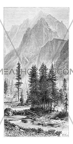 Wysoka Valley and Ganek Peak of the Pieniny Mountains, Poland, drawing by G. Vuillier from a photograph, vintage engraved illustration. Le Tour du Monde, Travel Journal, 1881