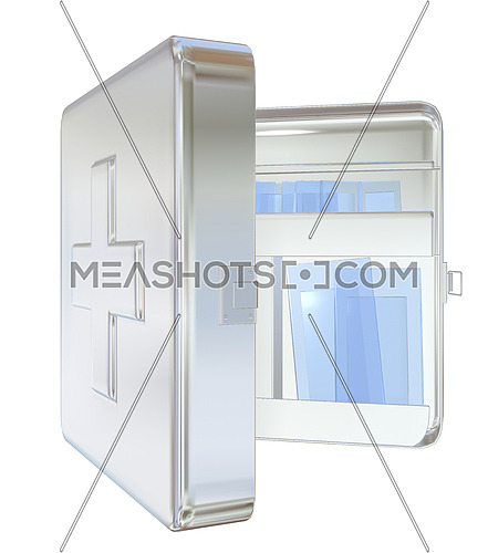 Medicine cabinet, white, wall-mounted, opened,  3D illustration, isolated against a white background.