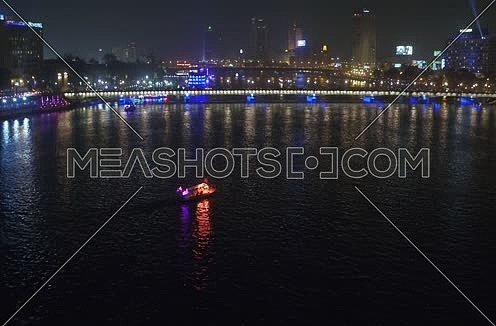 Aerial Shot for the River Nile at Cairo at Night