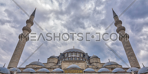 Exterior low angle day shot of domes Suleymaniye Mosque. An Ottoman imperial mosque located on the Third Hill of Istanbul, Turkey, and the second largest mosque in the city. built in 1557