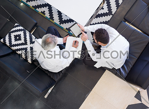 top view of medical staff in meeting together in hospital