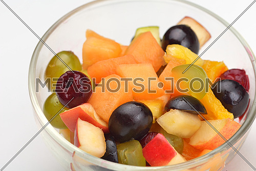 salad with fresh fruits and berries healthy food isolated on white backgound