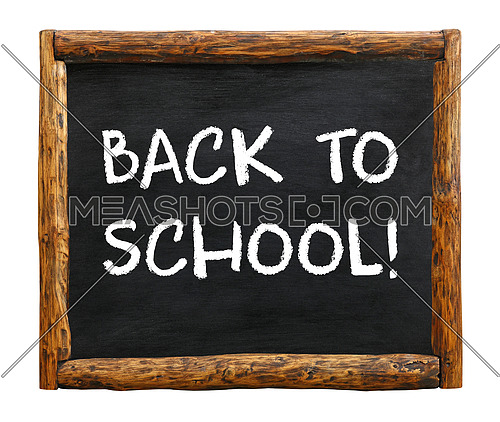 Back to school chalk handwritten sign over black, chalkboard background with grunge rustic wooden frame and copy space