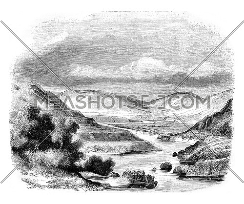 Confluence of valleys of Glen Roy and Glen Turit, Scotland, vintage engraved illustration. Magasin Pittoresque 1846.