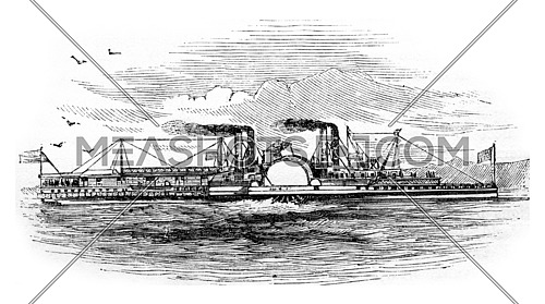 Mississippi Steamboat, vintage engraved illustration.