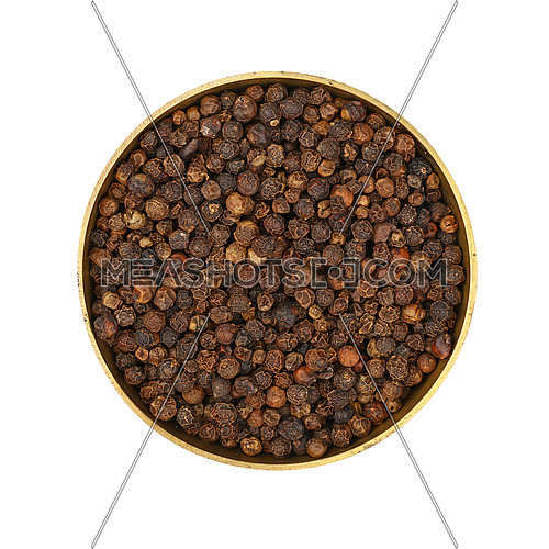 Close up one bronze metal bowl full of black pepper peppercorns isolated on white background, elevated top view, directly above