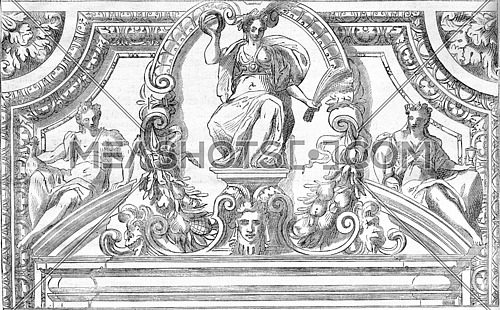 Facsimile of a drawing by Alessandro Vittoria, vintage engraved illustration. Magasin Pittoresque 1876.