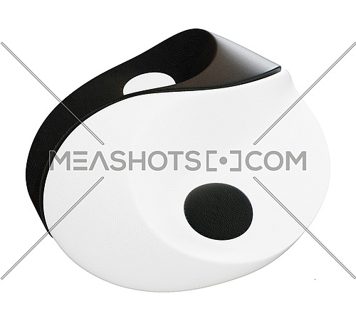 A black and white ying yang symbol as complementary sofa or seats, in leather, isolated against a white baground.