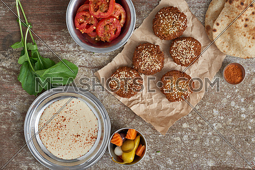falafel and pickled tomatoes traditional breakfast