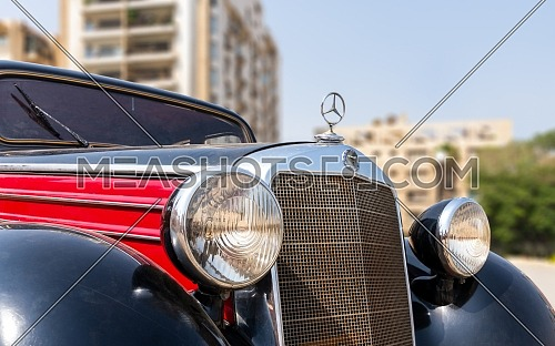 1953 Black and red Mercedes antique car