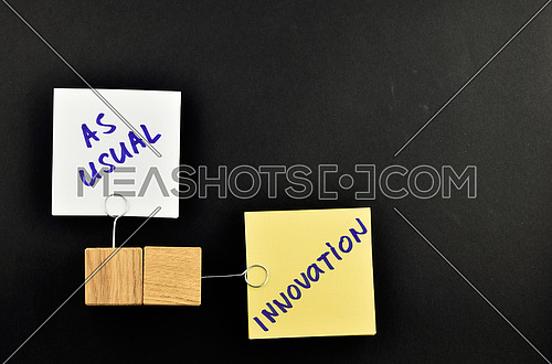 Innovation, two paper notes, white