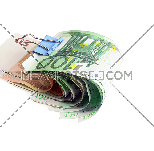 euro bills with paper clip on white background