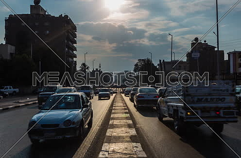 Zoom OUT Shot for traffic at Salah Salim Street showing Al Orouba Tunnel in background at Daytime