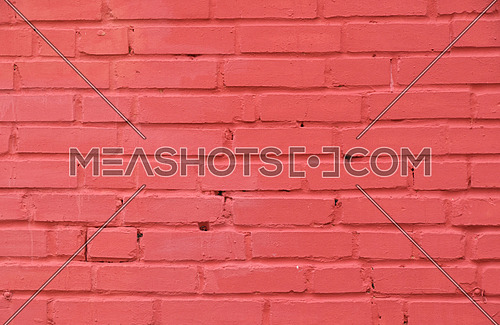 Pink painted old brick wall texture background
