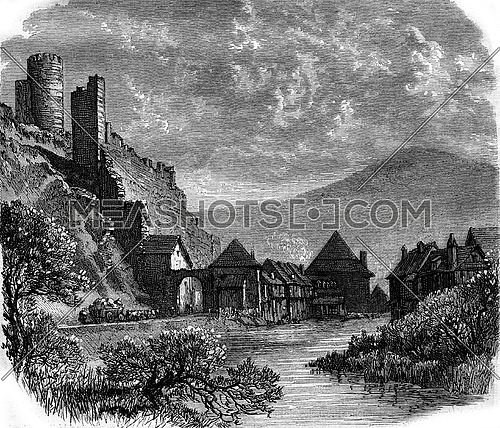 View Kaysersberg, Vosges, vintage engraved illustration. Magasin Pittoresque 1880.