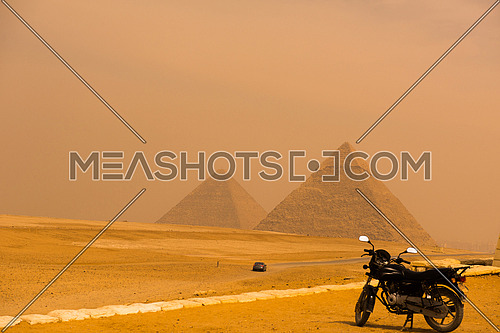 egypt cairo giza general view of pyramids from the giza plateau three pyramids known as queens