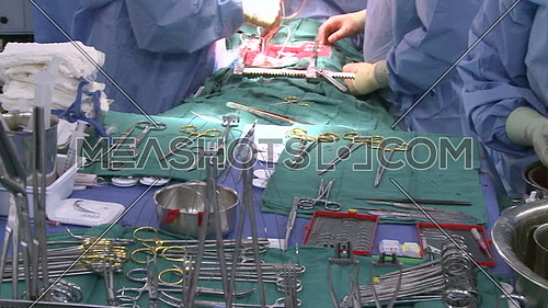 Pan right for surgical tray with surgical instrumentals